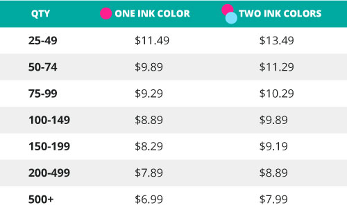 one-color pricing chart