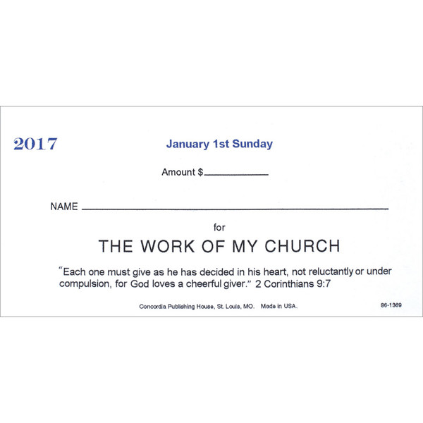 Boxed Offering Envelope Annual Set Weeks Numbered - Church offering envelopes templates free