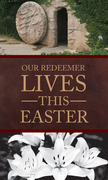 Church Banner Easter Our Redeemer Lives