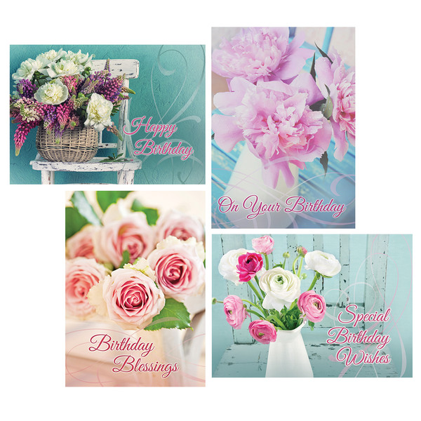Fragrant bouquets boxed cards birthday pack of 12 bookmarktalkfo Choice Image