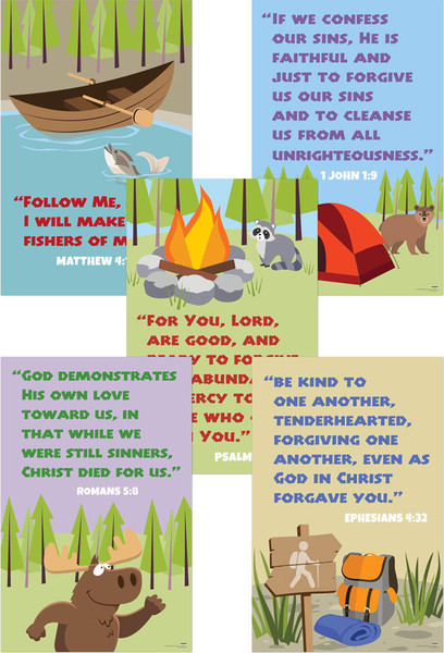 Jumbo Verse Posters Set Of 5 Nkjv Camp Moose On The