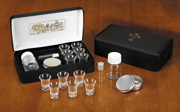 Last Supper Metal Hinged Portable Communion Set - 6 Glass Cups